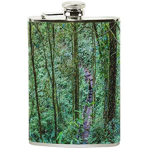 Strawberryran Flachmann 7 Unze Schöne Tageslicht Bäume Edelstahl Pu-Leder Tragbare Schnapsflasche Tasche Flagon Wein Topf für Männer/Frauen