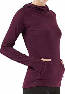 HMILES Womens Long Sleeve Running Hoodie With Thumb Holes Ladies UPF Sports Hoody With Zip Pockets Female Lightweight Cowl...