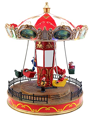 Musical Christmas Carousel Animated Pre-lit Musical Carnival Snow Village Perfect Addition to Your Christmas Indoor Decorations & Christmas Village Displays