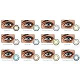 MEIXRJ 2ST Gafas, Lente Natural, Maquillaje del Color de la película Mixta Una Gran diámetro, de Color Pupila
