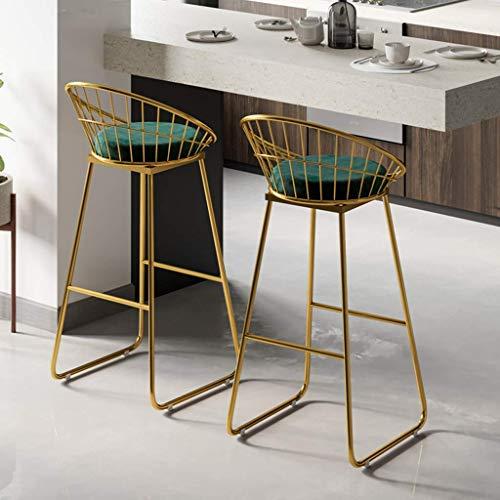 HLWJXS Barhocker, Bar, Restaurant, Stuhl, Homeround Stoff Barhocker Metallbeine Dicker Polstersitz Iron Art Dining Chair,Höhe 65 cm (25,6 Zoll)