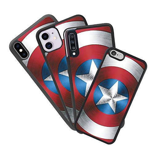 zoilastore - Cover personalizzata per Apple iPhone 5 5S, con stemma Capitan America in gomma flessibile TPU con bordo nero