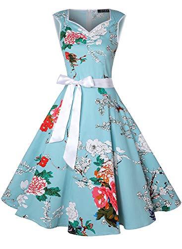 Oten Damen Vintage Tee Kleid Rockabilly Party Cocktail Kleider Gr. Small, Hellgrünes Blumenmuster