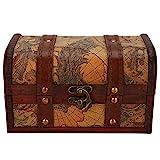 Yosoo Health Gear Caja de Madera Vintage, Regalos Hechos a Mano del Cofre del Tesoro para la decoración del hogar(Map Trumpet)