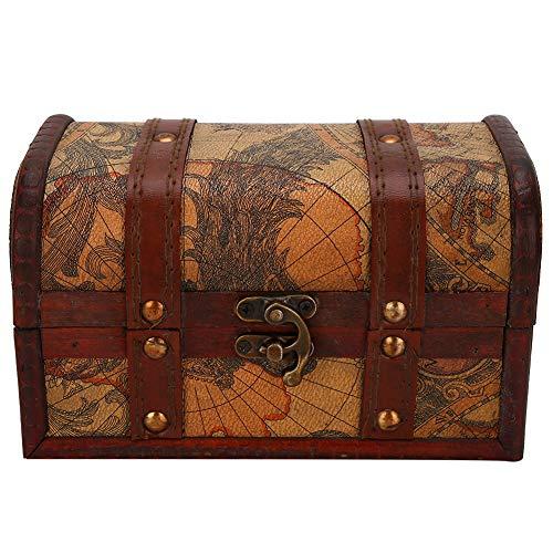 Caja de Almacenamiento de Madera Vintage Cofre del Tesoro Antiguo Joyas Decorativas Caja de Almacenamiento de Juguetes Cofre Pirata Muy Adecuado para Organizar Una Búsqueda del Tesoro con Niños(2 #)