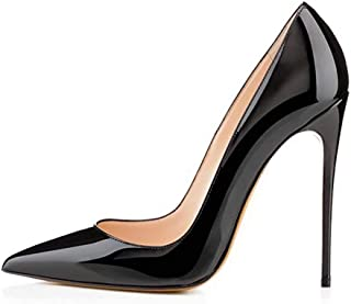 Chris-T Womens Pointy Toe High Heels Slip On Stiletto 12CM Leather Party Dress Pumps Shoes 5-14 US