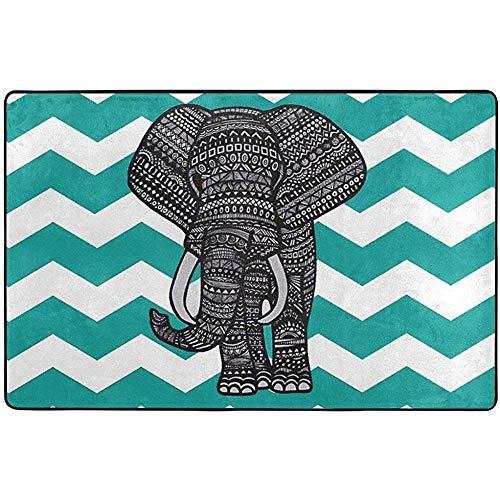 Nancyint Teppich blau und weiß gestreiften Elefanten 60 x 39 Zoll Teppiche rutschfeste Gummi-Rückenmatten für Schlafzimmer