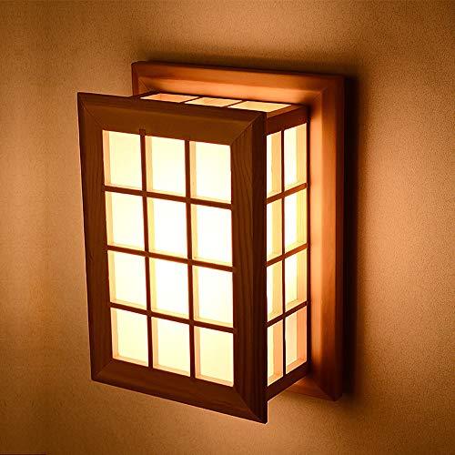 Luminaire mural haute luminosité Décoration de style japonais moderne Lampe de chevet Veilleuses Appliques murales en bois massif Luminaire d'intérieur à deux têtes en bois for allée d'escalier Balcon