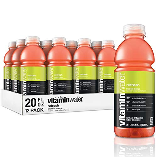 Vitaminwater Refresh, Tropical Mango Flavored, Electrolyte Enhanced Bottled Water with Vitamin b5, b6, b12, 20 Fl Oz, 12 Pack