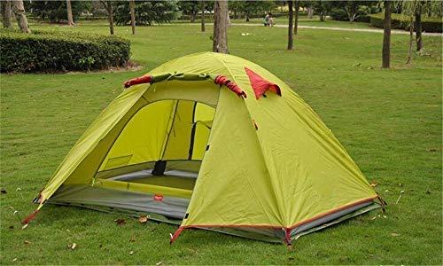 Carpa de Camping de Doble Capa para 2 Personas Carpa Impermeable al Aire Libre con Poste de Aluminio Carpa de Dos Puertas y Cuatro Estaciones