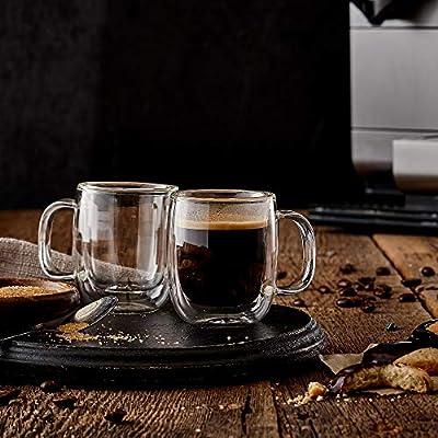 Safdie & Co. Insulated Coffee Mug,Cappuccino Cups,Glass Coffee Mug
