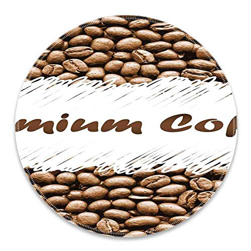 Rundes Mauspad Mousepad mit Kaffee, frisch gerösteten Arabica-Bohnen Premium-Qualität Doodle White Border Robust, Kakao White Pattern Gel Rubber für Gaming Office - 200MMx3MM
