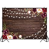 Avezano Rustic Wood Burgundy Floral Backdrop for Bridal Shower Wedding Birthday Party Decoration Photoshoot Photography Background Lights Jars Burgundy Bachelorette Party Photo Booth (7x5ft)