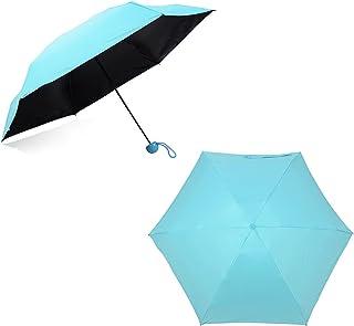 Decdeal Mini Umbrella 5-Folding Anti-UV Umbrellas Compact Ultra Protective with Waterproof Case