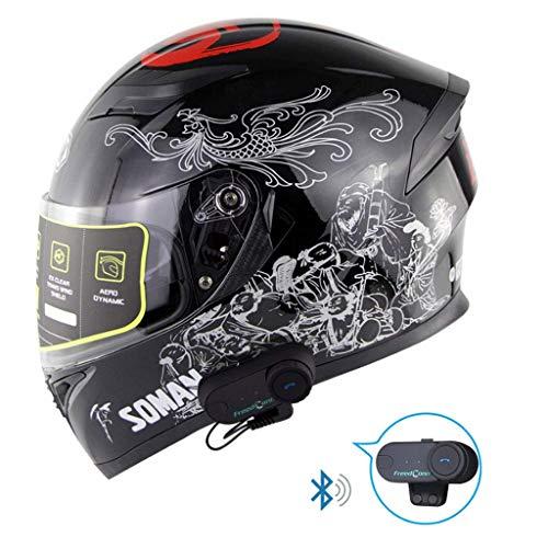Best Price DIMPLEYA Bluetooth Motorcycle Helmet Anti-Fog Mirror Headset with Front Flap Bluetooth + ...