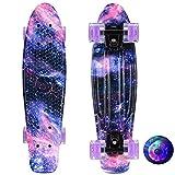 LIRAN Penny Board, 55,9 cm Skateboard Cruiser Board Starry Board, Retro Skate Graphic Floral Galaxy mit Fashion Flash Wheel, für Teenager, Anfänger, Mädchen, Jungen, Lila