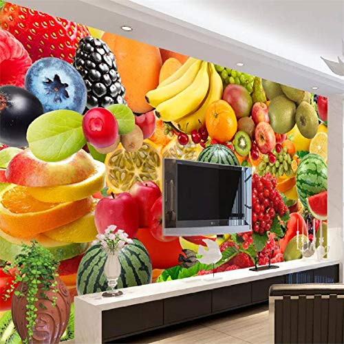 YSJHPC Mural Fotomural Surtido de frutas frescas Papel Pintado Foto Autoadhesivo Papel De Pared Estéreo 3D Papel Pintado Personalizado Paiting 3D Murales De Pared Salón Tv Dormitorio(W) 200x (H) 150CM