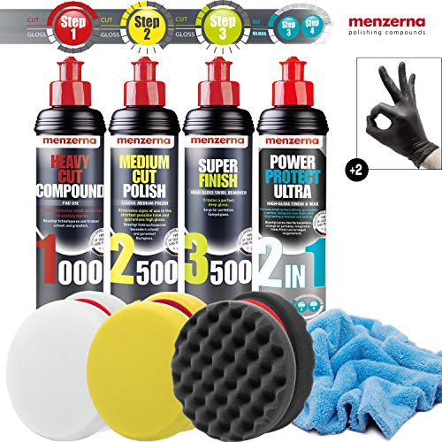 detailmate Set de Pulido - Menzerna Super Heavy Cut Compund 1000 + Medium Cut 2500 + Super Finish 3500 + 2 in 1 Power Protect Ultra +3X Acolchado 150 mm + paño de Pulido de Microfibra Esponjoso