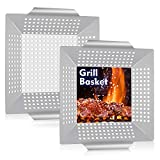 """HaSteeL 8"""" Grilling Basket, Small BBQ Grill Basket Wok Set of 2 for Vegetable, Kabobs, Shrimps, Heavy Duty Stainless Steel Grilling Accessories for All Grills, Dishwasher Safe"""