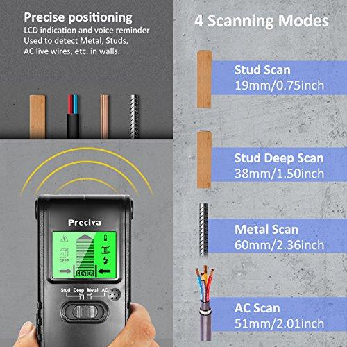 Détecteur de mur, Preciva Scanner mural Stud Finder avec 4 Modes Détecteur multi-parois pour le métal, AC live fil, détecteur de bois avec détection d'alarme avec grand écran LCD