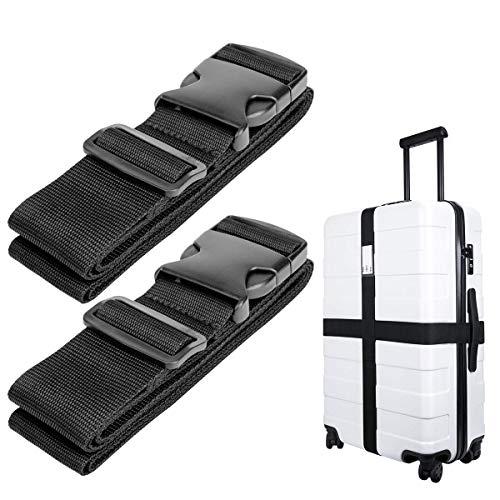 Luxebell da viaggio cinghie bagagli imballaggio cintura valigia cinghie regolabile sicurezza 2-pack(Nero)