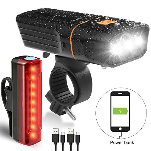 V VONTOX Bike Light Set 1200 Lumens Runtime 20+ hrs 5200mAh Waterproof Rechargeable Lithium Battery, 3 Light Mode Options.Super Bright Front Headlight and Tail Light Fits All Bicycle.
