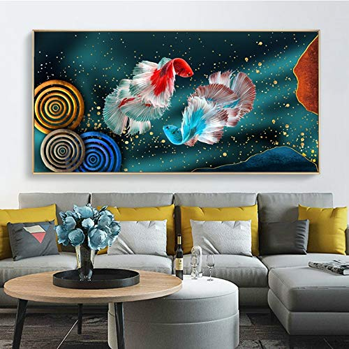 WIOIW Chinese Style Swimming Koi Fish Feng Shui Carp Lotus Pond Canvas Painting Modern Wall Art Picture Poster Living Room Entrance Bedroom Office Home Decor