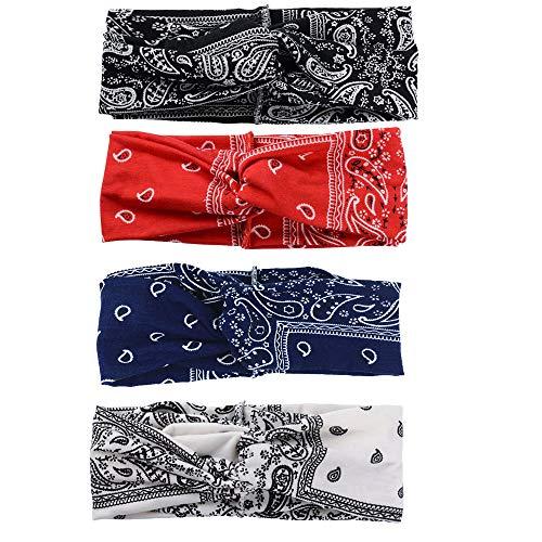 H & Y Hoofdband voor dames, elastische hoofdband, met bloemenpatroon, gedraaid katoen, voor dagelijks gebruik, yoga, sport, fitness