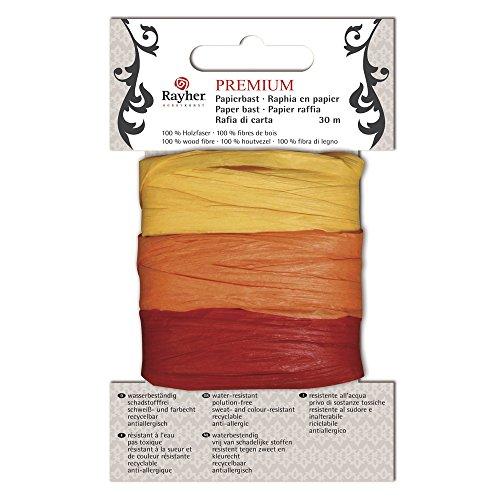 Rayher 52013000 Premium Papierbast, aus 100% Holzfaser, je Fb.10m, Karte 30m, gelb/orange/rot