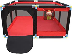 Baby Playpen Kids Safety Playpen Children s Play Fence Panels Anti-fall Foldable and Portable with Storage Bag Kids Activity Center for 0-3 Ages Indoor Red