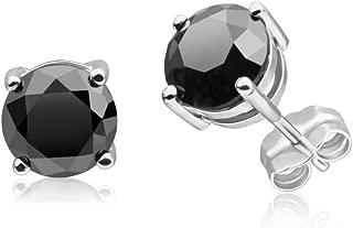 1/2-10 Carat Total Weight Black Diamond Stud Earrings