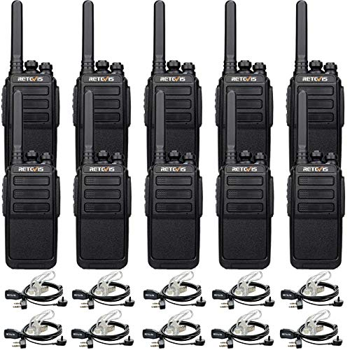 Case of 10,Retevis RT28 Walkie Talkies for Adults,Two Way Radios with Earpieces,Hands Free Local Alarm,Rechargeable Portable 2 Way Radio,Worker Industrials Factory