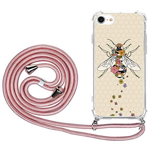 Case para iPhone 7 / iPhone 8 Carcasa de movil con Cuerda para Colgar - Funda con Correa Colgante - con Cordon para Llevar en el Cuello (Abeja y Oro rosa)