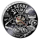 ROMK Reloj de pared para cocina moderno sushi tiempo antiguo reloj de pared plato japonés Foodie vinilo Record Clock Sashimi restaurante asiático rollo de pared signo gourmet regalo