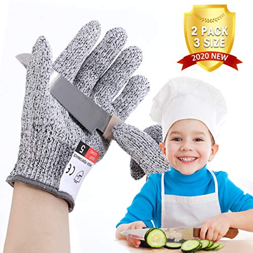 LIUMY Schnittsichere Handschuhe für Kinder, Schutzstufe 5 Level, geeignet fur (5~7 Jahre Kinder), zum Kochen, Schneiden und Gartenarbeite verwenden