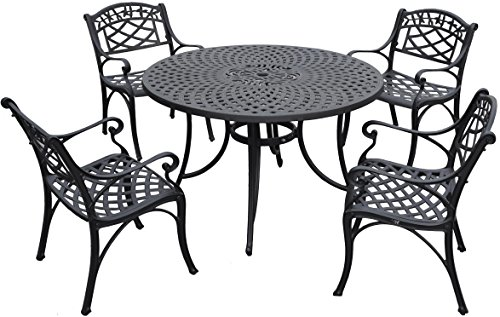 Crosley Furniture KOD6001BK Sedona 5-Piece Solid-Cast Aluminum Outdoor Dining Set with 46-inch Table and 4 Arm Chairs, Black