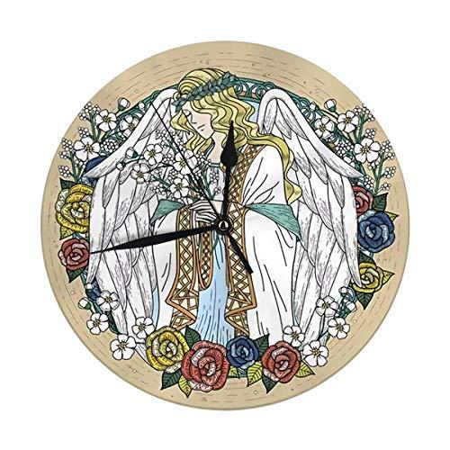Shui Moderne Wanduhr große 9,8 'Zoll Graceful Angel Malvorlagen mit Blumen in exquisiten Linie große runde Uhren