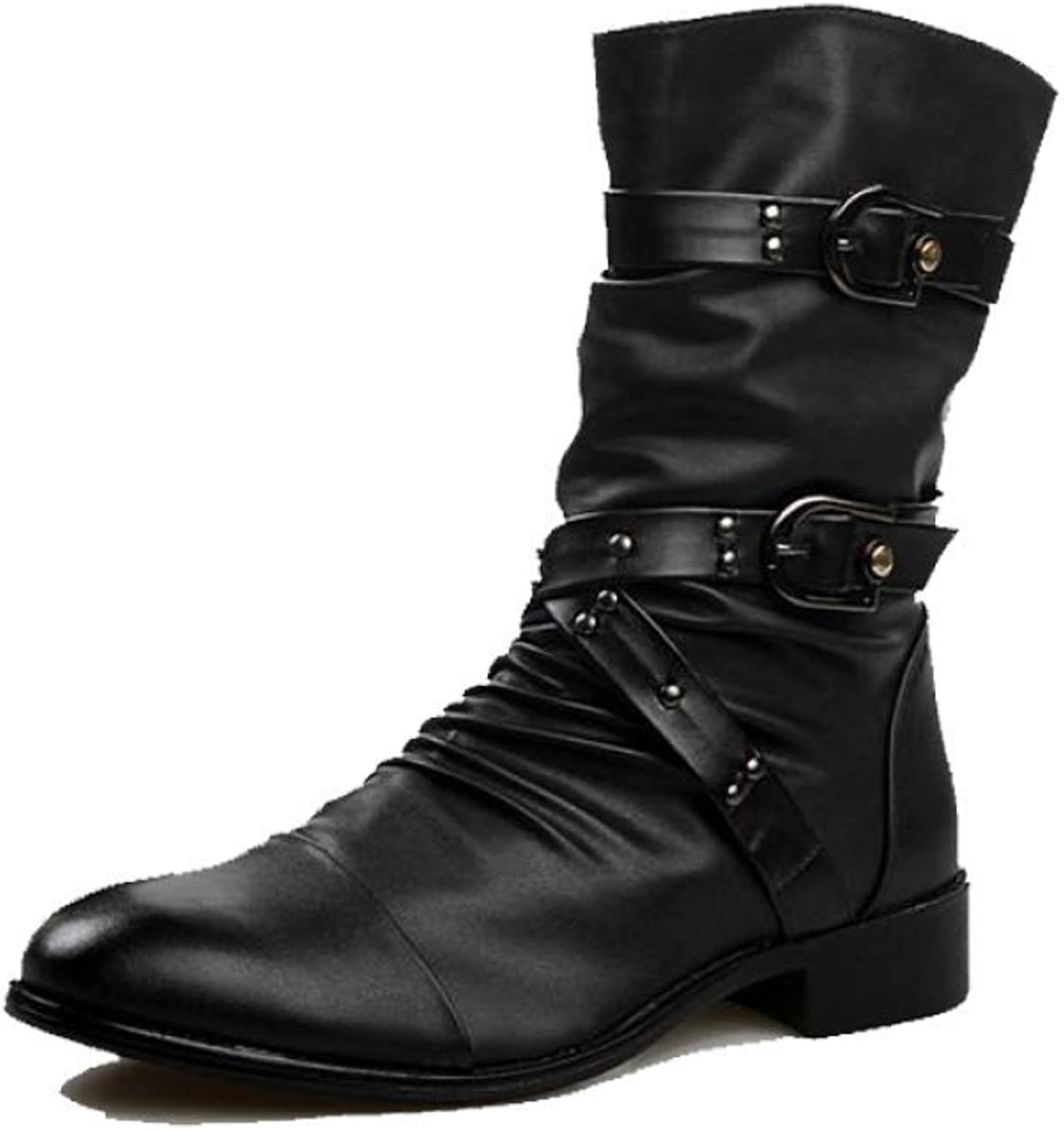 AEYMF Martin Boots Men's British Army Boots High Boots Pointed British Men's Boots