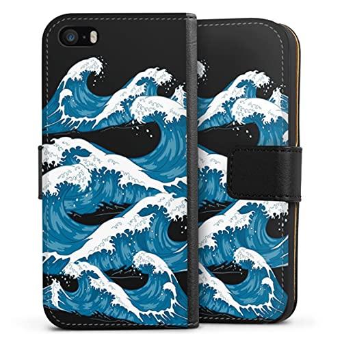 Sideflip compatibel met Apple iPhone SE (2016-2019) Bookcase Flipcase Men Style Oceaan Zee