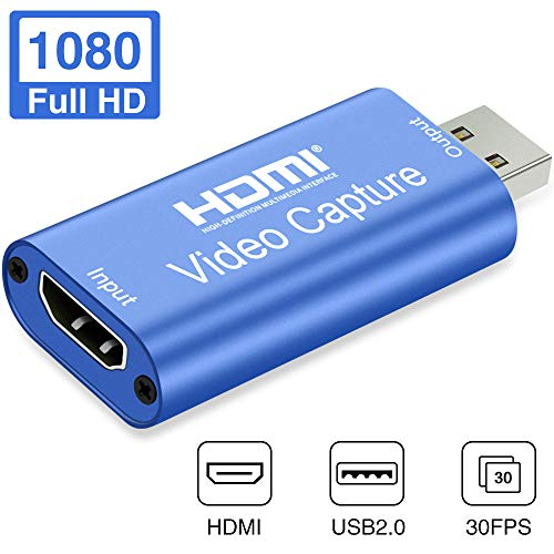 GOODAN Audio Video Capture Cards HDMI to USB 1080p USB2.0 Record via DSLR Camcorder Action Cam for High Definition Acquisition, Live Broadcasting (Blue)