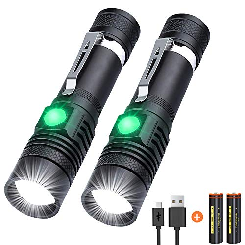 Flashlights, Rechargeable Flashlights 1200 High Lumens Tactical Flashlight (Battery Included) LED Waterproof Flashlights for emergencies, Camping, Hiking, Reading, Indoor and Outdoor[2 Pack]