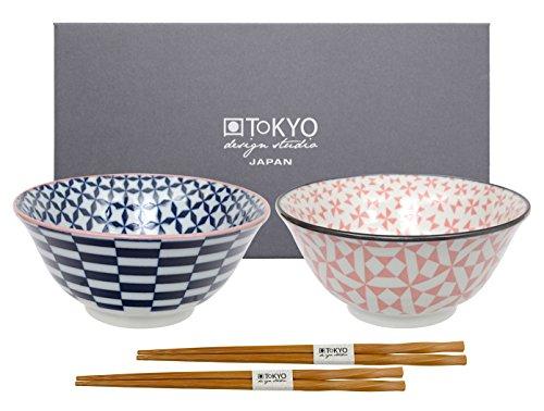TOKYO design studio Estudio de diseño de Tokio Geo Eclectic Tayo Cuenco con Palillos hb-5841/EB, Porcelana, Multicolor, 15x 6,7cm, Juego de 2