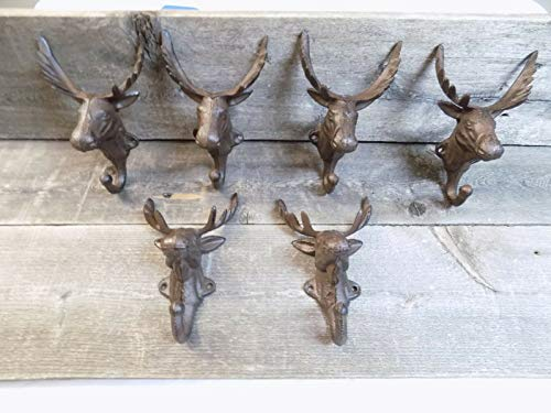 6 Rustic Elk Moose Wall Hooks for Coats, Hats, Purses, Mud Rooms, Bars, Restoration, Cabins, Gifts, Purses, Dog Leashes, Hunters, Rustic Brown Farmhouse Color