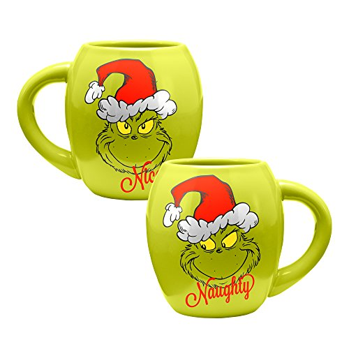 Vandor Dr. Seuss Grinchmas Naughty and Nice 18 oz. Oval Ceramic Mug