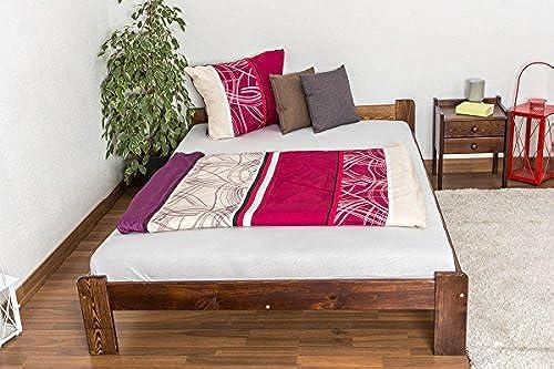 Kinderbett Jugendbett Kiefer Vollholz massiv Nussfarben A8, inkl. Lattenrost - Abmessungen  140 x 200 cm