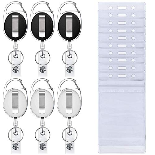 6 Stks Intrekbare Badge Houders met 10 Stks Waterdichte Transparante Card Houder, SENHAI Karabijnhaak Riem Clip Split Ring en Verticale Stijl Clear ID Card Houders