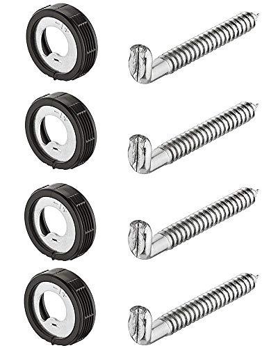 Gedotec Schraubhaken Wand-Hängeschrank Schrankaufhänger zum Einbohren Küchen-Aufhänger für Möbel | Schrank-Aufhängung höhen-verstellbar | Tragkraft 15 kg | 4 Stück - Schrankhalter rund mit Schrauben