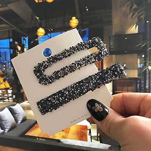 YUANBOO 2 Teile/Satz Frauen Haarnadeln Haarspange Haarspange Zubehör Mode Luxus Lange Quadrat Kristall Barrette Gold Haarspahr Kopfschmuck Ente Bill Clips (Color : Navy Blue)