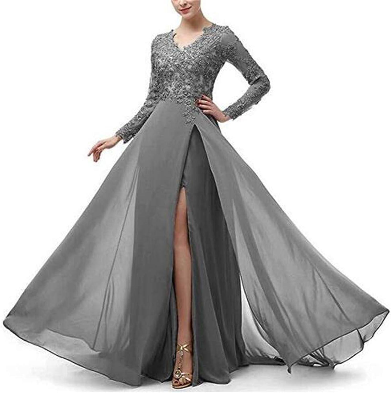 Emmani Women's V Neck Lace High Split Evening Wedding Dresses Long Sleeve Party Gown