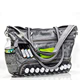 Essential Oils Demonstration Luci Style Travel and Crafts Tote that is Water Resistant a Great for Young Living DoTerra Avon and Mary Kay Sellers. Display Windows and Adjustable Shoulder Strap (Gray)